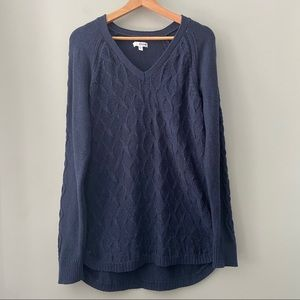 Sonoma Cable Leaf V-Neck Tunic Sweater XL Blue